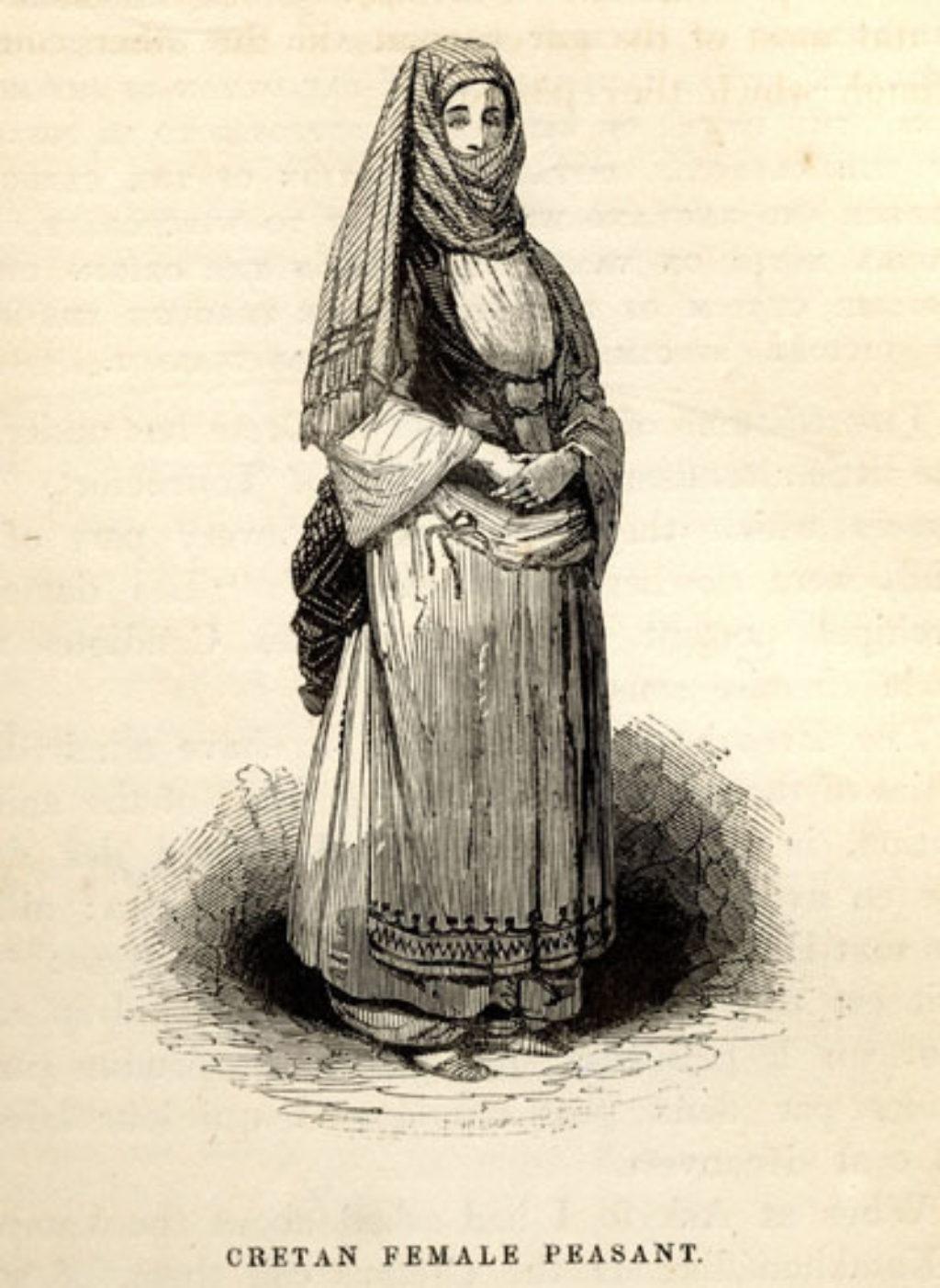 Μία από τις ελάχιστες απεικονίσεις γυναικών στην Κρήτη του πρώιμου 19ου αι. (R. Pashley, 1834)